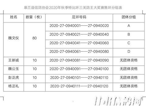 皋兰县信鸽协会2020年秋季特比环售环分组表