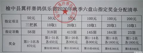 榆中翼祥赛鸽俱乐部秋季六盘山200公里大赛指定奖金
